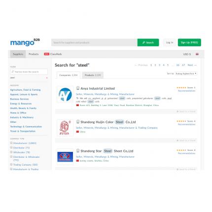 Mango B2B platform