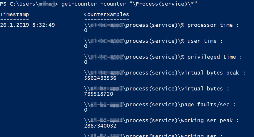 Get all performance counters of a service.exe process