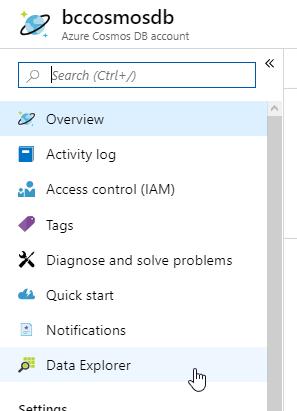 Access ComosDb Data Explorer blade in Azure portal.