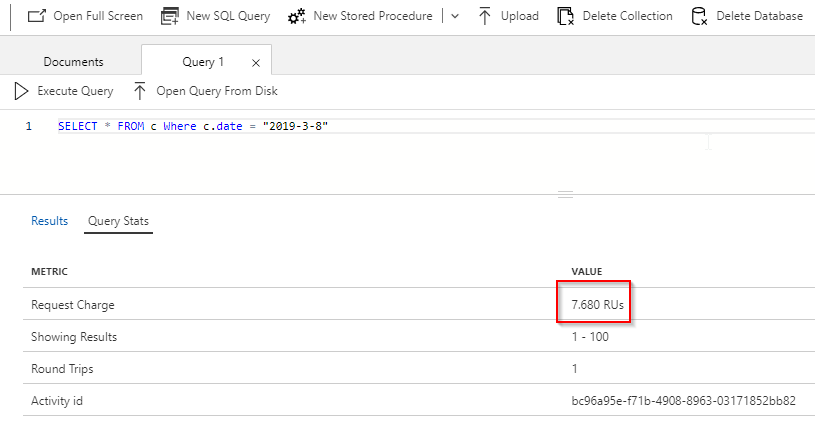 Read request charge from Data Explorer in Azure Portal. Example from simple select of whole documents on a certain date.